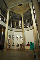 Concrete fermentation vats and the mystic fountain with a big crystal lit from underneath that supposedly give energy to the one who touches it and to the winery. The cathedral like building with enormous pillars. Domaine Viret, Saint Maurice sur Eygues, Drôme Drome France, Europe
