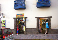 SPIDERMAN AND A MANNEQUIN ON A CUZCO, PERU STREET
