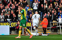 Swansea v Norwich, Liberty Stadium, Saturday 29th march 2014...<br /> <br /> <br /> <br /> Swansea's Wayne Routledge celebrating his goal