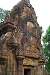 Angkorian temple Banteay Srei (late 10th century) 967.<br /> North Library.West pediment showing Krishna killing Kamsa.<br /> Banteay Srei temple is situated 20km north of Angkor, built during the reign of Rajendravarman by Yajnavaraha, one of his counsellors. In antiquity Isvarapura was a small city that grew up around the temple. Banteay Srei was dedicated to the worship of Shiva, the foundation stele describes the consecration of the linga Tribhuvanamahesvara (Lord of the three worlds) in 967.