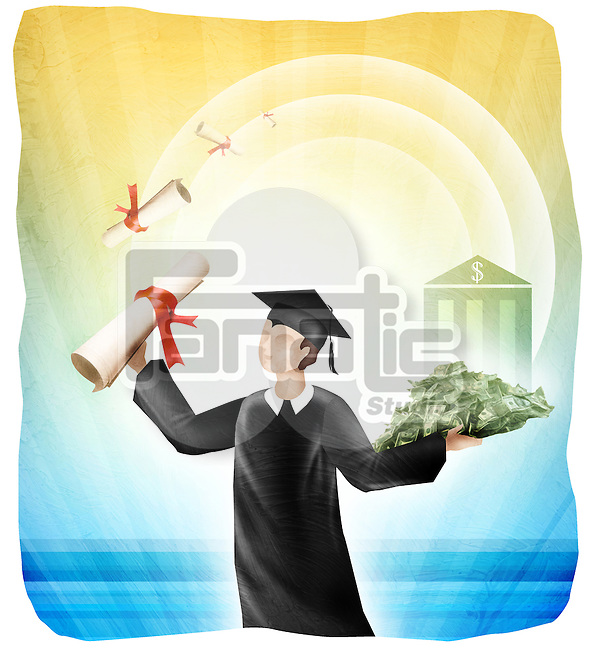 University student holding diploma and money