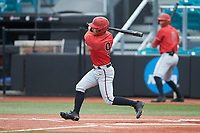 Matt Rudick (9) of the San Diego State Aztecs follows through on his swing against the UNCG Spartans at Springs Brooks Stadium on February 16, 2020 in Conway, South Carolina. The Spartans defeated the Aztecs 11-4.  (Brian Westerholt/Four Seam Images)