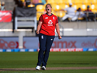 England's Katherine Brunt celebrates dismissing Hayley Jensen during the 3rd international women's T20 cricket match between the New Zealand White Ferns and England at Sky Stadium in Wellington, New Zealand on Sunday, 7 March 2021. Photo: Dave Lintott / lintottphoto.co.nz