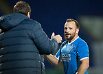 Dave Mackay Testimonial: St Johnstone v Dundee…06.10.17…  McDiarmid Park… <br />Saints legend Jody Morris gets a well done from Tommy Wright<br />Picture by Graeme Hart. <br />Copyright Perthshire Picture Agency<br />Tel: 01738 623350  Mobile: 07990 594431