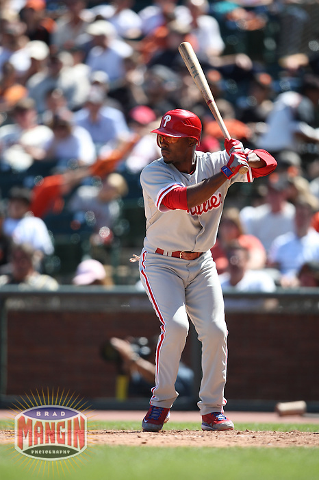 SAN FRANCISCO - AUGUST 2:  Jimmy Rollins #11 of the Philadelphia Phillies bats against the San Francisco Giants during the game at AT&T Park on August 2, 2009 in San Francisco, California. Photo by Brad Mangin