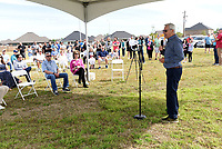 Bob Shaw delivers remarks on Saturday May 1 2021 during the dedication of Shaw Family Park in northwest Springdale. The Shaw family made a significant monetary donation to get the park built on city property along Downum Road. It's within walking distance of several neighborhoods near the park, noted Mayor Doug Sprouse.<br />(NWA Democrat-Gazette/Flip Putthoff)