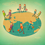 Business executives around a globe