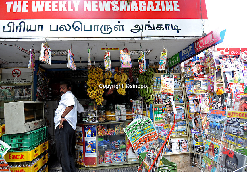Newspaper stand in Madras, India