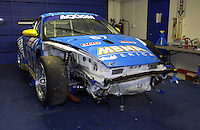 .The #67 Racer's Group Porsche shows off damage obtained in a head on crash with Larry Oberto's #21 SRP II car...