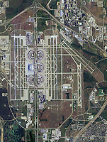 aerial photo map of Dallas Fort Worth airport (DFW), Irving, Texas