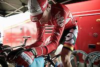 Kenny Dehaes (BEL) warming up<br /> <br /> 3 Days of West-Flanders 2014<br /> day 1: TT/prologue Middelkerke 7,0 km