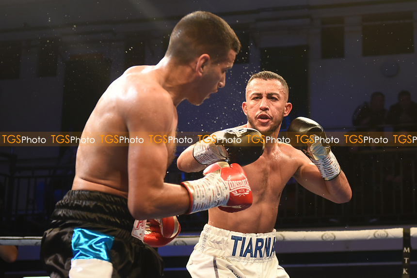 Michael McKinson (white shorts) defeats Luis Alberto Veron during a Boxing Show at York Hall on 9th November 2019
