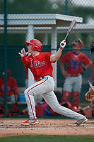 Philadelphia Phillies Stoney O'Brien (33) during a minor league Spring Training game against the Pittsburgh Pirates on March 13, 2019 at Pirate City in Bradenton, Florida.  (Mike Janes/Four Seam Images)