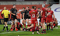 Sunday 22nd November 2020 | Ulster vs Scarlets<br /> <br /> Kieran Treadwell is congratulated after he scored Ulster's bonus point try  during the Guinness PRO14 Round 7 clash between Ulster Rugby and Scarlets at Kingspan Stadium, Ravenhill Park, Belfast, Northern Ireland. Photo by John Dickson / Dicksondigital