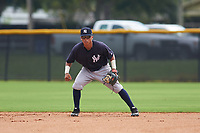 GCL Yankees West second baseman David Metzgar (3) during the first game of a doubleheader against the GCL Yankees East on July 19, 2017 at the Yankees Minor League Complex in Tampa, Florida.  GCL Yankees West defeated the GCL Yankees East 11-2.  (Mike Janes/Four Seam Images)