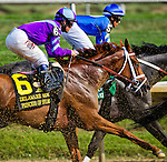 July 12, 2014: Princess of Sylmar, ridden by Javier Castellano, takes dirt as she moves through traffic early in the Delaware Handicap on Delaware Handicap Day at Delaware Park in Stanton, Delaware. Scott Serio/ESW/CSM