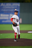 Auburn Doubledays pitcher Gilberto Chu (10) during a NY-Penn League game against the West Virginia Black Bears on August 23, 2019 at Falcon Park in Auburn, New York.  West Virginia defeated Auburn 6-5, the second game of a doubleheader.  (Mike Janes/Four Seam Images)