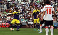 Valencia, Spain. Thursday 19 September 2013<br /> Pictured: (L-R) Wilfried Bony, Jonathan de Guzman.<br /> Re: UEFA Europa League game against Valencia C.F v Swansea City FC, at the Estadio Mestalla, Spain,