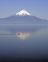 Tourists in Osorno Volcano near Puerto Varas, South of Chile