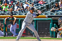 Jason Hagerty (23) of the El Paso Chihuahuas at bat against the Salt Lake Bees in Pacific Coast League action at Smith's Ballpark on April 24, 2016 in Salt Lake City, Utah. This was Game 1 of a double-header.  El Paso defeated Salt Lake 7-0. (Stephen Smith/Four Seam Images)