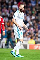 Real Madrid Karim Benzema during Semi Finals UEFA Champions League match between Real Madrid and Bayern Munich at Santiago Bernabeu Stadium in Madrid, Spain. May 01, 2018.  *** Local Caption *** © pixathlon<br /> Contact: +49-40-22 63 02 60 , info@pixathlon.de