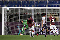 Takehiro Tomiyasu of Bologna FC scores a goal during the Serie A football match between AC Milan and Bologna FC at stadio Giuseppe Meazza in Milano ( Italy ), July 18th, 2020. Play resumes behind closed doors following the outbreak of the coronavirus disease. <br /> Photo Image Sport / Insidefoto