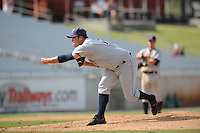 Casey Baron Pitcher Huntsville Stars (Milwaukee Brewers) delivers a pitch during the Southern League Playoffs at Smokies Park in Sevierville, TN September 13, 2009 (Photo by Tony Farlow/ Four Seam Images)