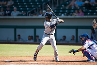 Peoria Javelinas shortstop Lucius Fox (5), of the Tampa Bay Rays organization, at bat in front of catcher P.J. Higgins (12) during an Arizona Fall League game against the Mesa Solar Sox at Sloan Park on October 24, 2018 in Mesa, Arizona. Mesa defeated Peoria 4-3. (Zachary Lucy/Four Seam Images)