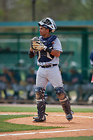 Detroit Tigers catcher Elys Escobar (89) during a minor league Spring Training game against the Atlanta Braves on March 25, 2017 at the ESPN Wide World of Sports Complex in Orlando, Florida.  (Mike Janes/Four Seam Images)