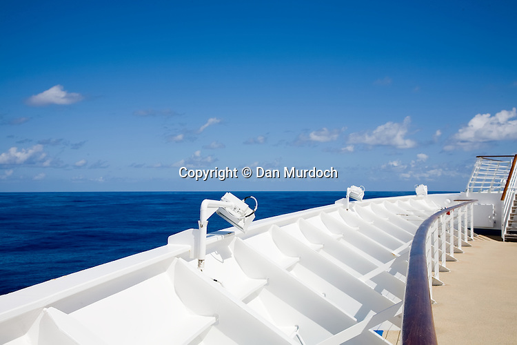 """The railing on the bow of the Royal Caribbean cruise ship """"Explorer of the Seas""""."""