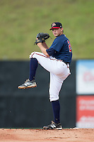 Danville Braves starting pitcher Luis Gamez (24) in action against the Pulaski Yankees at American Legion Post 325 Field on July 31, 2016 in Danville, Virginia.  The Yankees defeated the Braves 8-3.  (Brian Westerholt/Four Seam Images)