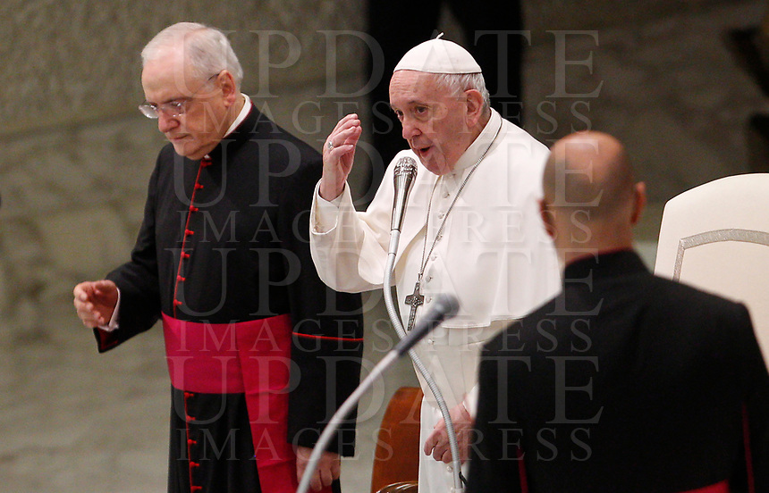 Pope Francis attends his weekly general audience in the Paul VI hall at the Vatican, January 22, 2020.<br />