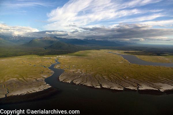 aerial photograph of wetlands at the Kenai Peninsula, Alaska