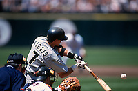 SAN FRANCISCO, CA:  Craig Biggio of the Houston Astros bats during a game against the San Francisco Giants at Candlestick Park in San Francisco, California in 1998. (Photo by Brad Mangin)