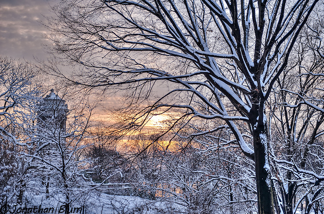Snowy Sunset, Riverside Park, NYC