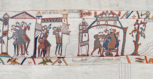 Bayeux Tapestry scene 31-32-33 : Astrologers see a comet in the sky and predict an evil omen for Harold. BYX31