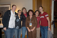 6 April 2008: Former Stanford Cardinal basketball players Heather Owen, Jamila Wideman, Vanessa Nygaard, San Francisco Chronicle beat writer Michelle Smith, Milena Flores, and Kate Starbird during Stanford's pre-game rally/reception for the 2008 NCAA Division I Women's Basketball Final Four semifinal game at the Westin Harbour Island hotel in Tampa, FL.