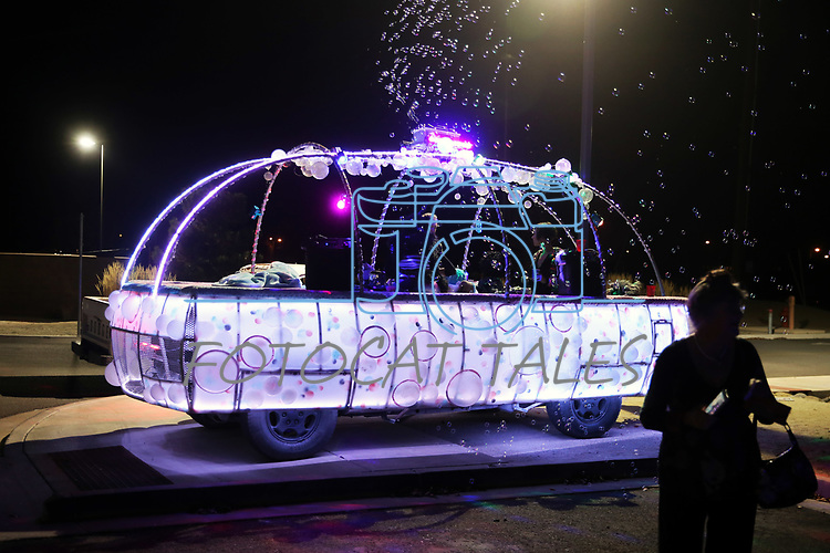 The Bubble Gasm float lights up the parking lot outside the annual Capital Collage as dozens of artists from around the state of Nevada who performed or demonstrating their crafts at the annual  in Carson City, Nev., on Friday, October 27, 2017. <br /> Photo by Lance Iversen/Nevada Momentum