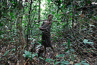 Pygmy boy strings hunting nets outside deep forest hunting camp...These folks all had shelter for the night in about two hours.  Women bend the branches to create a superstructures and then go off in the woods to get the right kind of leaves.  The Forest Hunting camps we hiked to are about 10k to the camp and then another 10K to where they string their nets.   Boys who are going thru the end of the circumcision ceremony called Kumbi accompanied the pygmies to the camp and were housed off to the side.  They were whipped every morning and then sent off into the forest to hunt or fish.