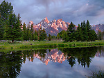 Wyoming, Western, Grand Teton National Park. The Tetons at dawn reflecting in the ponds at Schwabachers landing in summer.