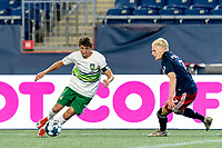 FOXBOROUGH, MA - AUGUST 26: Alex Morrell #7 of Greenville Triumph SC on the attack as Connor Presley #7 of New England Revolution II defends during a game between Greenville Triumph SC and New England Revolution II at Gillette Stadium on August 26, 2020 in Foxborough, Massachusetts.