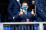 St Johnstone v Galatasaray…12.08.21  McDiarmid Park Europa League Qualifier<br />Thumbs-up from saints Chairman Steve Brown<br />Picture by Graeme Hart.<br />Copyright Perthshire Picture Agency<br />Tel: 01738 623350  Mobile: 07990 594431