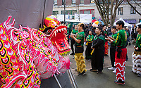 Mak Fai Kung Fu Lion Dance Team, Chinese New Year Celebration, Chinatown, Seattle, WA, USA.