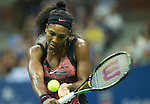 Serena Williams (USA) defeats Bethanie Mattek-Sands (USA) 3-6, 7-5, 6-0 at the US Open in Flushing, NY on September 4, 2015.