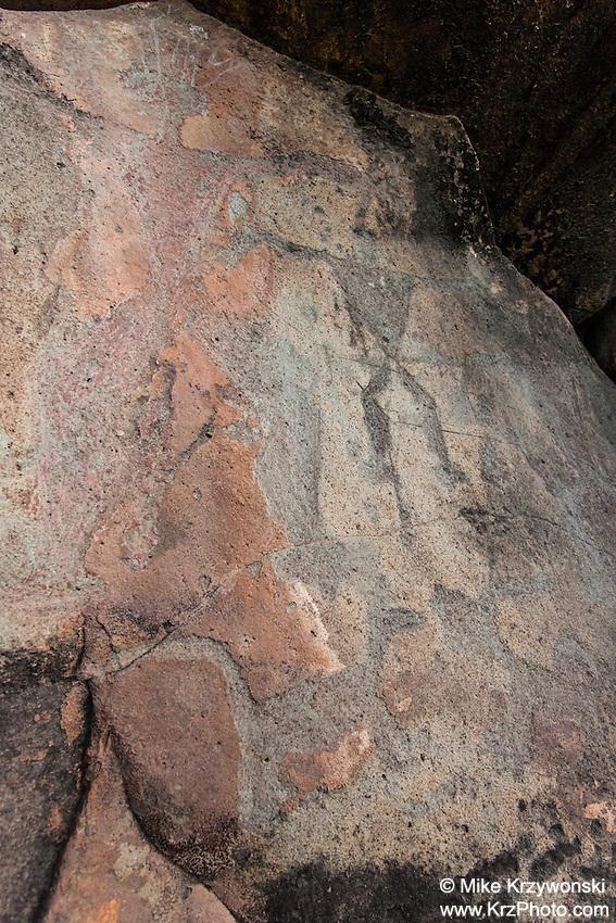 Hawaiian petroglyphs of human figures & dogs, Olowalu, Maui