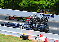 May 15, 2011; Commerce, GA, USA: NHRA top fuel dragster driver Terry McMillen (far) takes the win over Brandon Bernstein during the Southern Nationals at Atlanta Dragway. Mandatory Credit: Mark J. Rebilas-