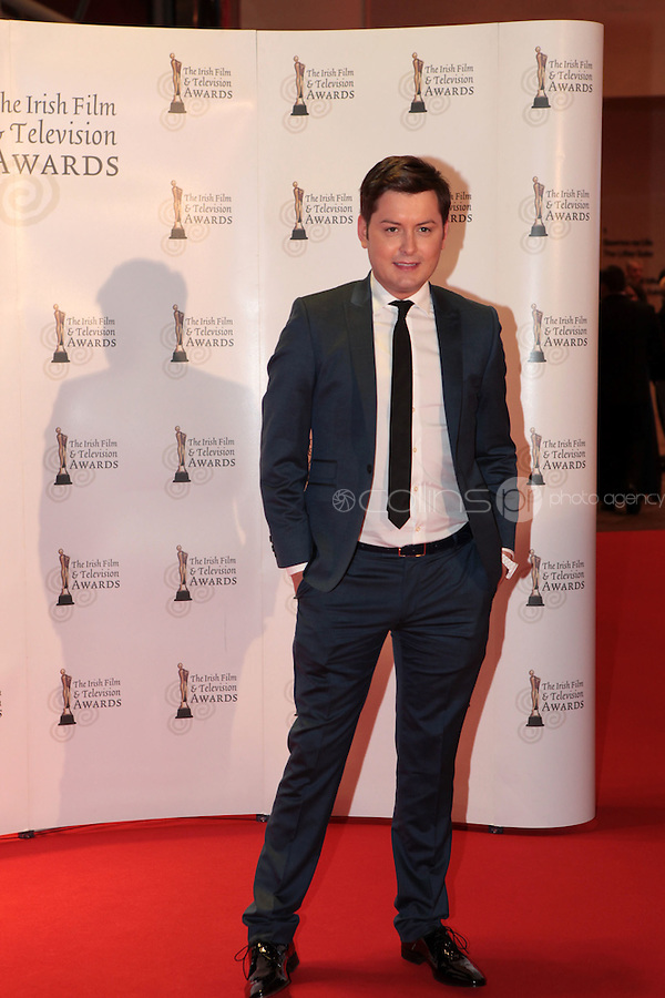 12/2/11 Brian Dowling on the red carpet at the 8th Irish Film and Television Awards at the Convention centre in Dublin. Picture:Arthur Carron/Collins