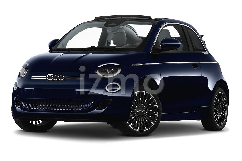 Low aggressive front three quarter view of a 2021 Fiat 500C La Prima 2 Door Convertible