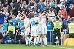 Real Madrid Nacho Fernandez, Luka Modric, Borja Mayoral and Gareth Bale celebrating a goal during La Liga match between Real Madrid and R. C. Deportivo at Santiago Bernabeu Stadium in Madrid, Spain. January 18, 2018. (ALTERPHOTOS/Borja B.Hojas)