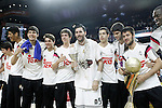 Real Madrid's Rudy Fernandez celebrates with the Real Madrid Basketball Junior Team, Winner in the Junior Euroleague Final Four, the victory in the Euroleague Final Match. May 15,2015. (ALTERPHOTOS/Acero)